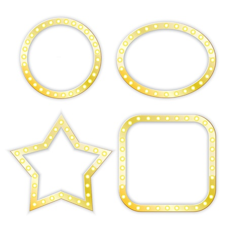golden frames of star, circle, ellipse, square.   Çizim