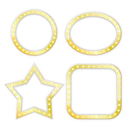 golden frames of star, circle, ellipse, square.   Иллюстрация