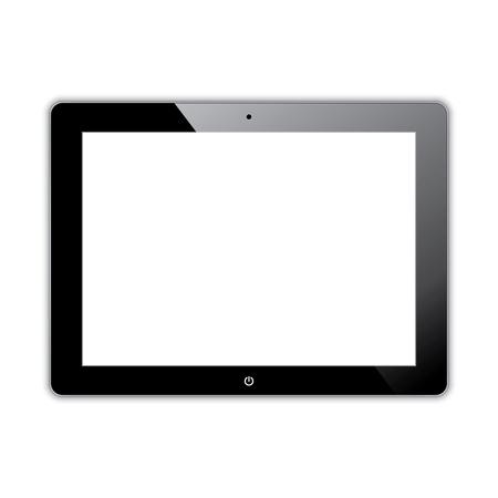 multitask: black computer tablet touchscreen.  Illustration