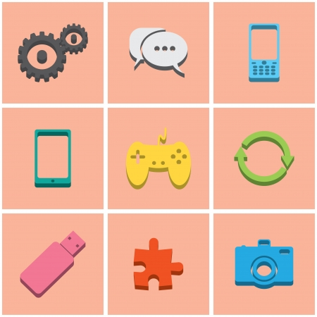series of colored flat icons. set 3.   Vector