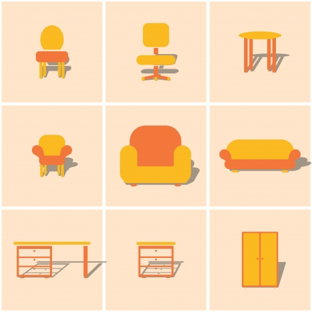 hotel bedroom: colored flat icons furniture. vector set 1