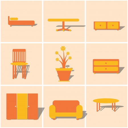 davenport: colored flat icons furniture. vector set 2.