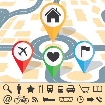 gekleurd papier pointers en borden navigatie voor map Stock Illustratie