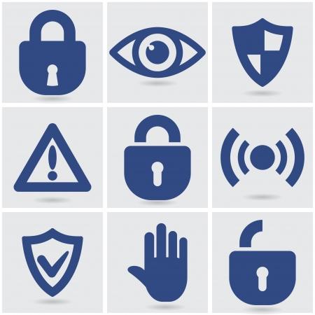 set of security icons.