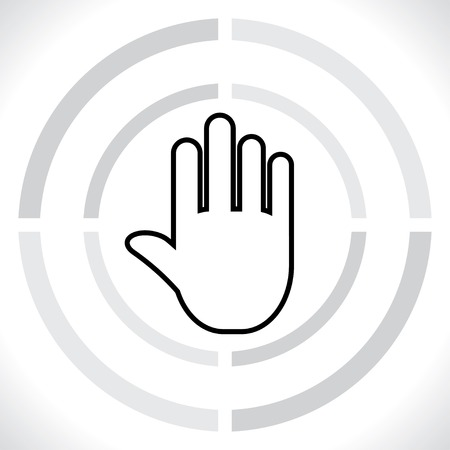 stop gesture: stop. icon hand.  Illustration