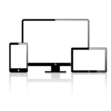 blank tablet: set of electronic devices. smartphone, computer, tablet.