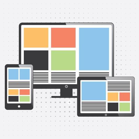 elektronische apparaten op kleur. smartphone, computer, tablet. Stock Illustratie