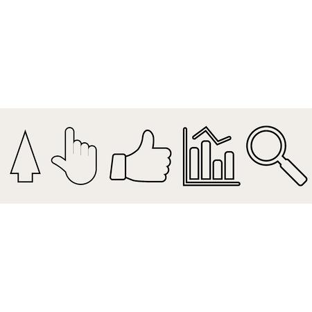 designator: set of icons. arrow, hand cursors, search, chart.