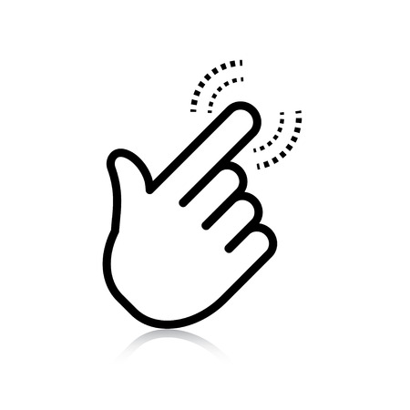 dedo apuntando: haga clic en. puntero del icono de la mano. vector eps8 Vectores