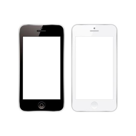 blanco: Ilustración de un teléfono móvil en blanco y negro. eps10
