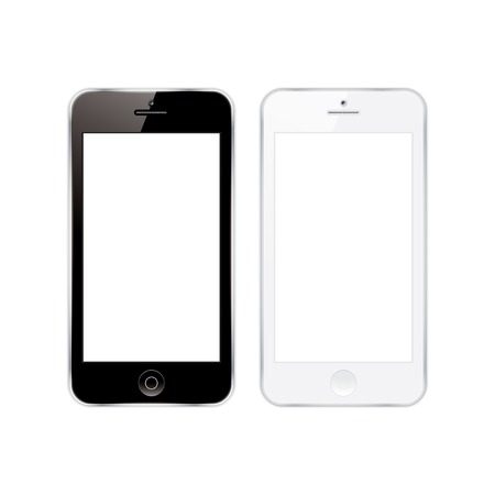 white: vector illustration of a mobile phones black and white.