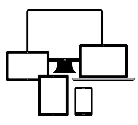 set of electronic devices. smartphone, computer, tablet, netbook. vector eps10 Vector