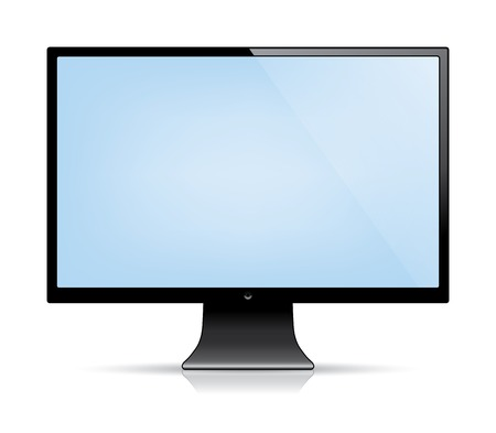blank computer screen: computer monitor with a blank blue screen. isolated on white. vector eps10
