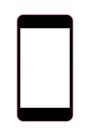 vector illustratie van een mobiele telefoon zwart met roze rand. eps10