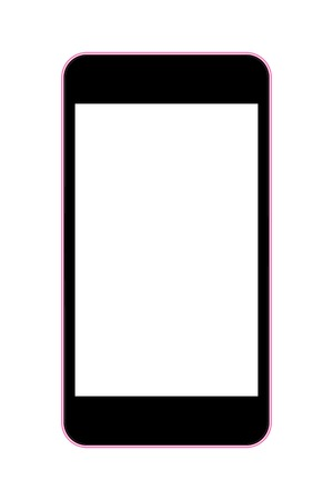 multitask: vector illustration of a mobile phone black with pink rim. eps10