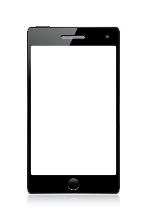 black mobile phone with white blank screen isolated on white. vector illustration eps10 Illustration