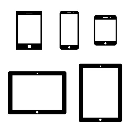 multitask: set of electronic devices with white blank screens. smartphones, tablets. vector eps8