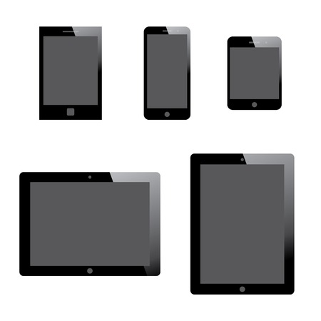 set of electronic devices with gray blank screens. smartphones, tablets. vector eps10 Stock Vector - 23206662