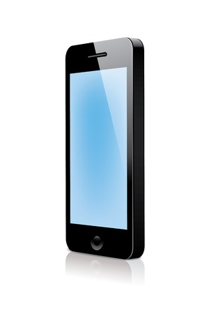 3d smartphone with blue blank screen Stock Vector - 23313868