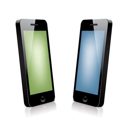 multitask: two 3d smartphones. Illustration