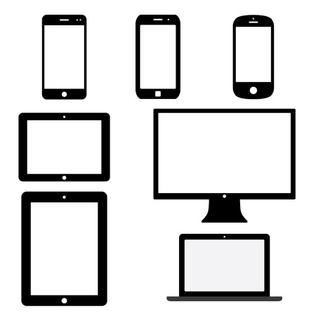set van elektronische apparaten met witte lege schermen. smartphones, tablets, computer monitor, netbook. Stock Illustratie