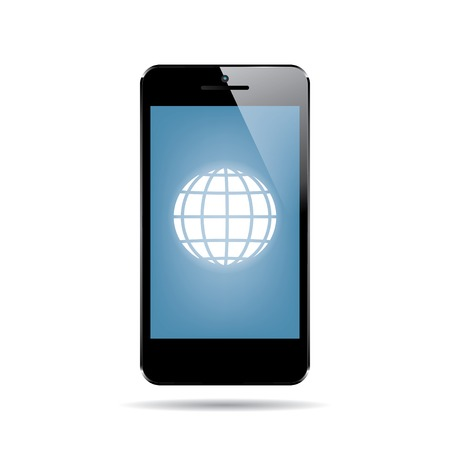 cellphone icon: icon of black smartphone with globe on display. vector.