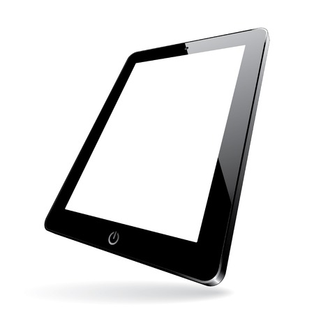 digitizer: illustration of a 3d black computer tablet with white blank screen. vector.
