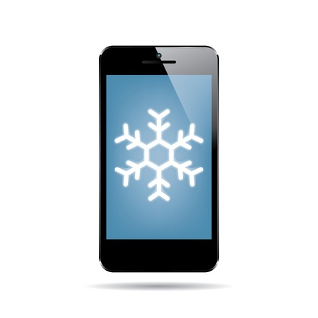 multitask: icon of black smartphone with snowflake on display. vector.