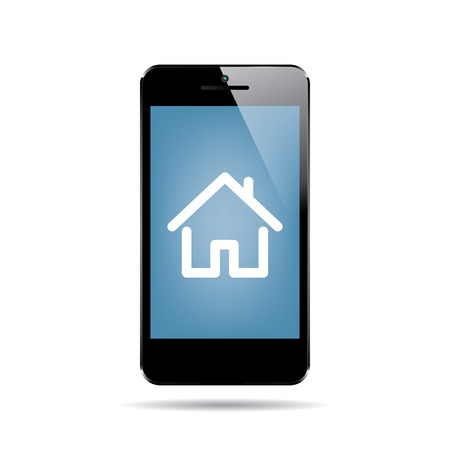 icon of black smartphone with house on display. vector.  Vector
