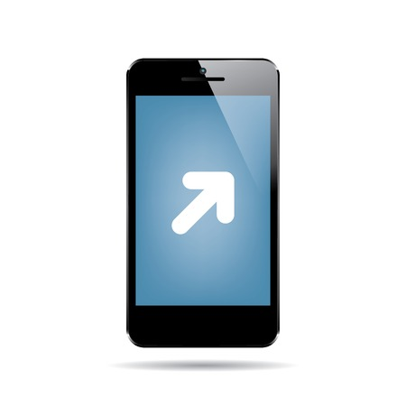 multitask: icon of black smartphone with arrow cursor on display. vector. Illustration
