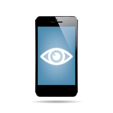 icon of black smartphone with eye on display. vector.