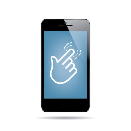 multitask: icon of black smartphone with hand cursor on display. vector.