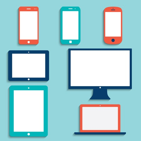 electronic devices with white blank screens in color. smartphones, tablets, computer monitor, netbook.  Illustration