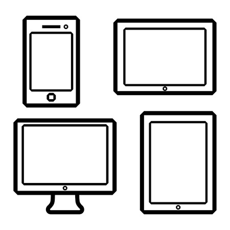 game pad: icons of electronic devices. smartphone, tablets, computer monitor.