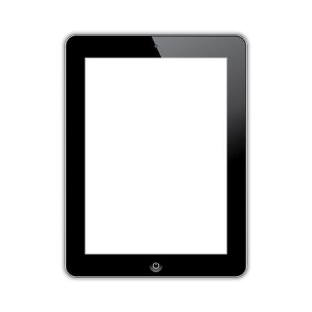computer tablet met een leeg wit scherm. vector realistische illustratie.