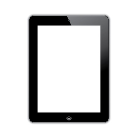computer tablet with blank white screen. vector realistic illustration.  Çizim