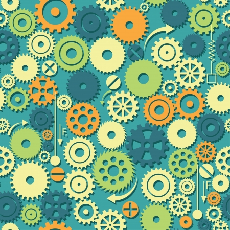 gears. colored seamless background.  Vector