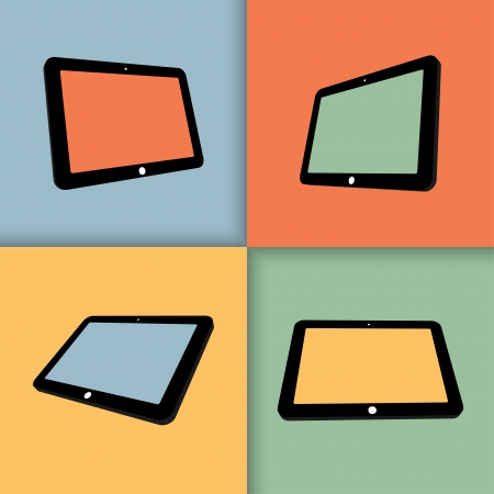 digitizer: 3d tablets with blank screens in color. Illustration