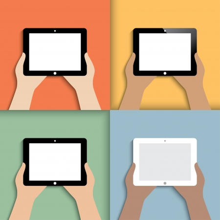 tablet in hands. icons in color. Stock Vector - 23867187