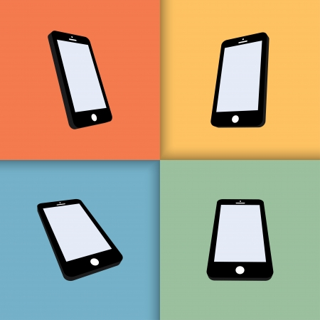 3d mobile phones with blank screens in color.  Illustration