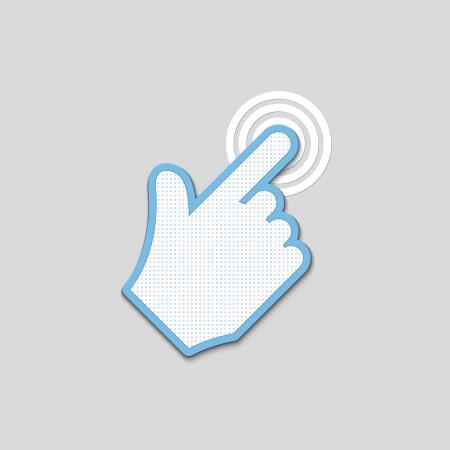 click. hand icon pointer textured.  Illustration