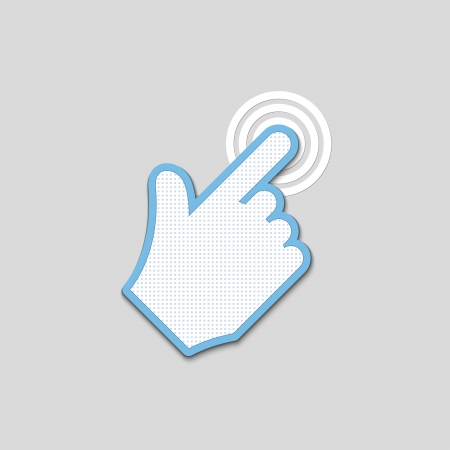 depress: click. hand icon pointer textured.  Illustration