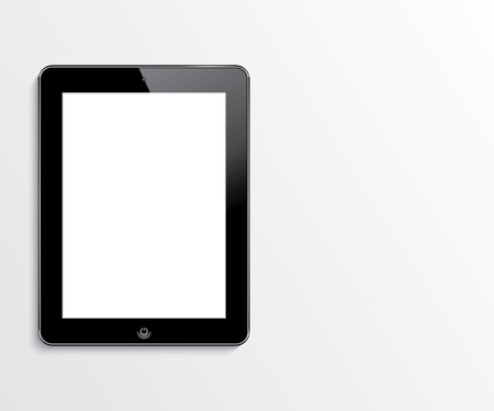 computer tablet with blank white screen  vector realistic illustration  eps10 Çizim