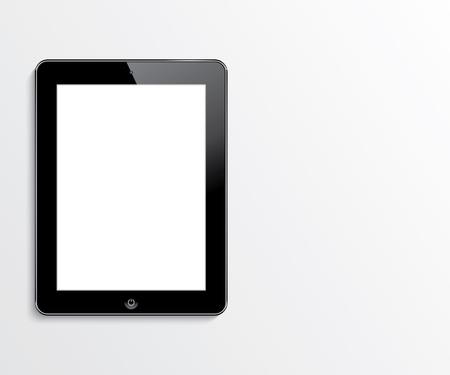 tablet computer con illustrazione realistico schermo in bianco bianco vettoriale eps10