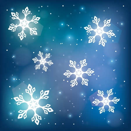 winter magic background  snowflakes on blue  vector illustration  eps10 Illustration