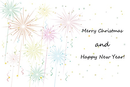 fireworks on white. merry xmas and happy new year greeting card. vector eps10 Stock Vector - 24160288