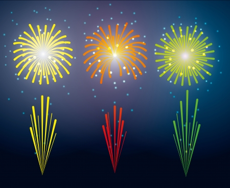 holiday salute. set of colorful fireworks.  Vector