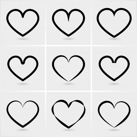 heart outline: icons hearts set Illustration