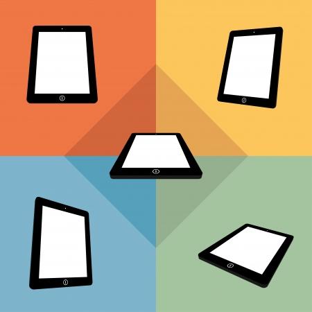 digitized: Tabletas 3D con pantallas en blanco en color. vector eps8