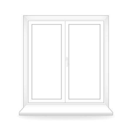 window sill: white plastic window. vector template.  Illustration